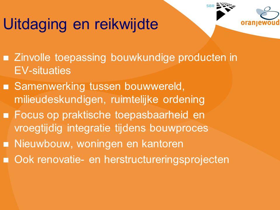 Uitdaging en reikwijdte Zinvolle toepassing bouwkundige producten in EV-situaties Samenwerking tussen bouwwereld, milieudeskundigen, ruimtelijke orden