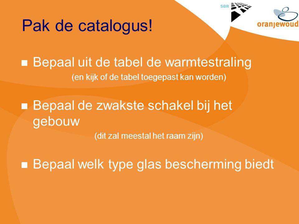 Pak de catalogus! Bepaal uit de tabel de warmtestraling (en kijk of de tabel toegepast kan worden) Bepaal de zwakste schakel bij het gebouw (dit zal m
