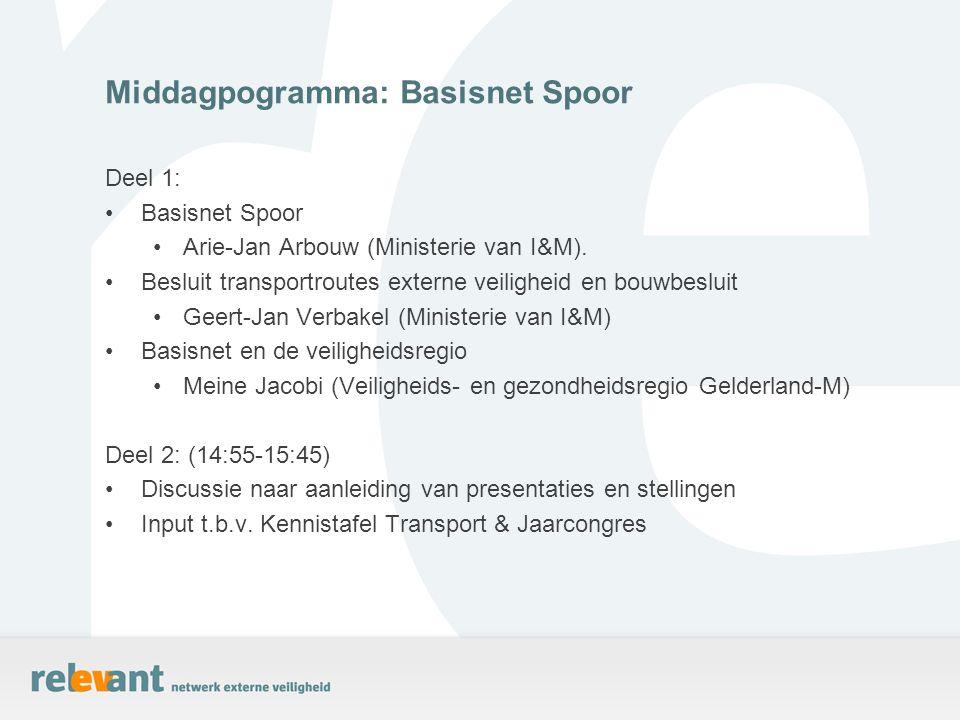 Deel 1: Basisnet Spoor Arie-Jan Arbouw (Ministerie van I&M). Besluit transportroutes externe veiligheid en bouwbesluit Geert-Jan Verbakel (Ministerie
