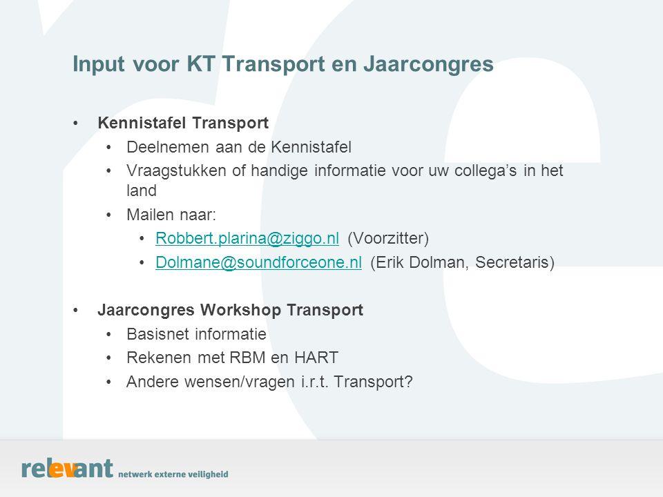 Kennistafel Transport Deelnemen aan de Kennistafel Vraagstukken of handige informatie voor uw collega's in het land Mailen naar: Robbert.plarina@ziggo