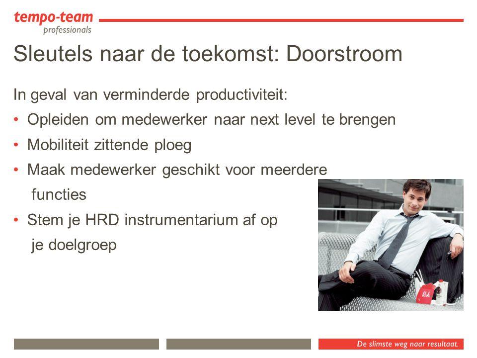Sleutels naar de toekomst: Doorstroom In geval van verminderde productiviteit: Opleiden om medewerker naar next level te brengen Mobiliteit zittende p