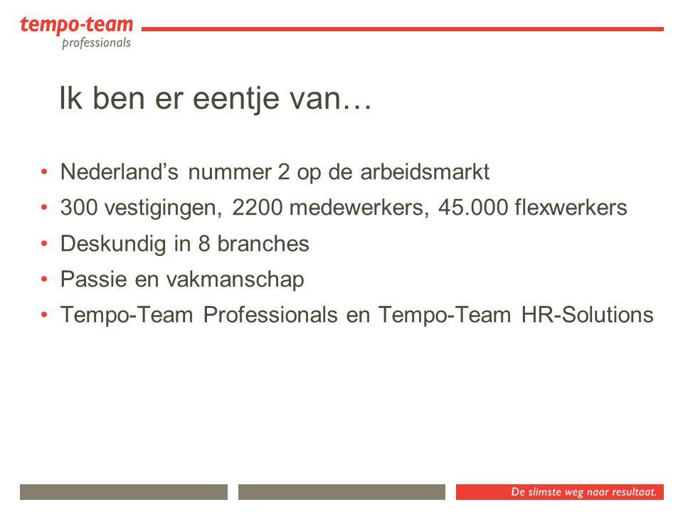 Nederland's nummer 2 op de arbeidsmarkt 300 vestigingen, 2200 medewerkers, 45.000 flexwerkers Deskundig in 8 branches Passie en vakmanschap Tempo-Team