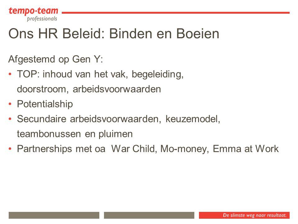 Ons HR Beleid: Binden en Boeien Afgestemd op Gen Y: TOP: inhoud van het vak, begeleiding, doorstroom, arbeidsvoorwaarden Potentialship Secundaire arbe