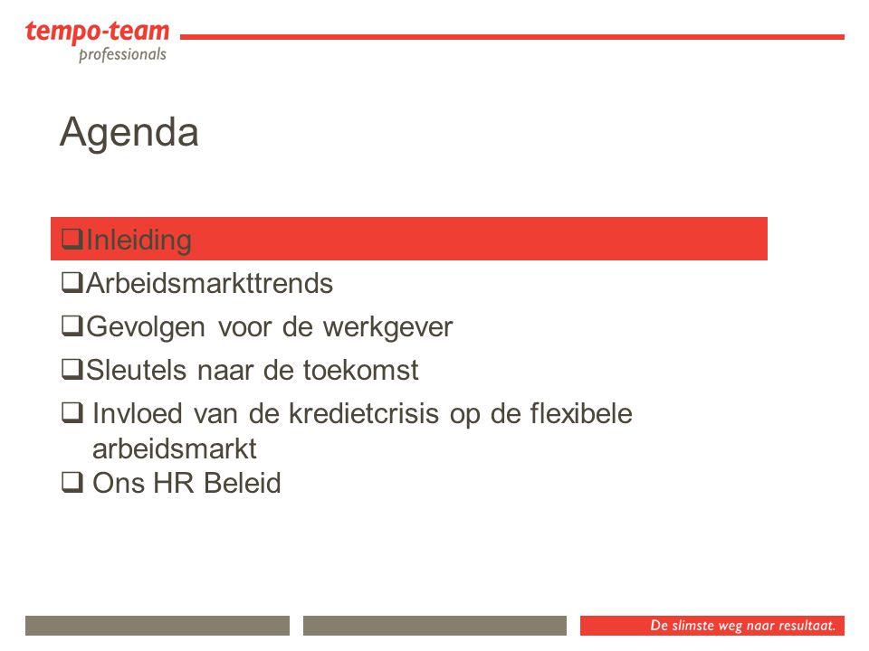 Agenda  Inleiding  Sleutels naar de toekomst  Gevolgen voor de werkgever  Arbeidsmarkttrends  Invloed van de kredietcrisis op de flexibele arbeid