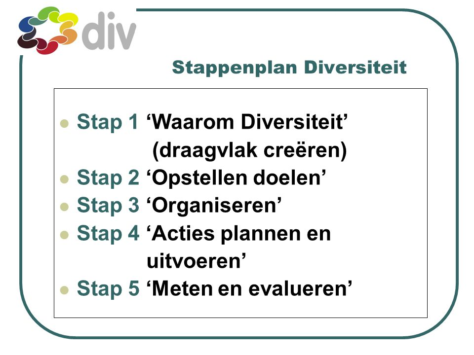 diversiteitsmanagement Werkplek waar verschillen worden gewaardeerd Iedereen heeft de kans vaardigheden en talenten te ontwikkelen ( in overeenstemming met onze waarden en bedrijfsdoelen).
