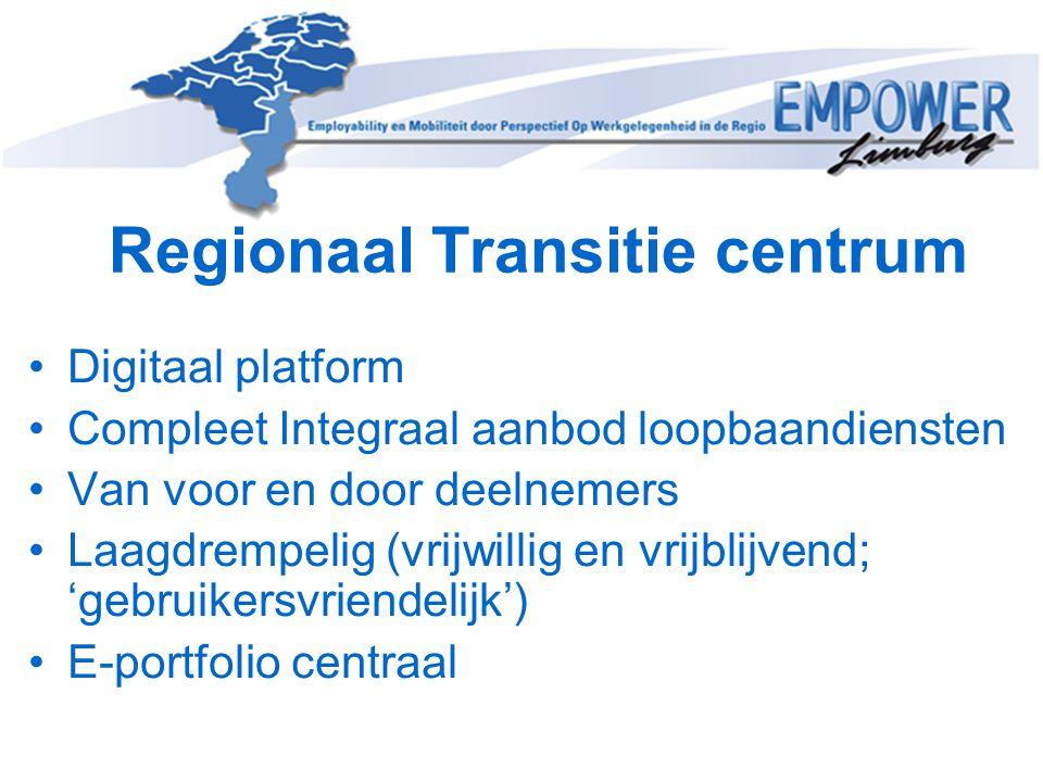 Regionaal Transitie centrum Digitaal platform Compleet Integraal aanbod loopbaandiensten Van voor en door deelnemers Laagdrempelig (vrijwillig en vrij