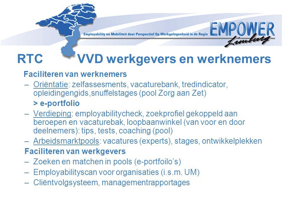RTC VVD werkgevers en werknemers Faciliteren van werknemers –Oriëntatie: zelfassesments, vacaturebank, tredindicator, opleidingengids,snuffelstages (p