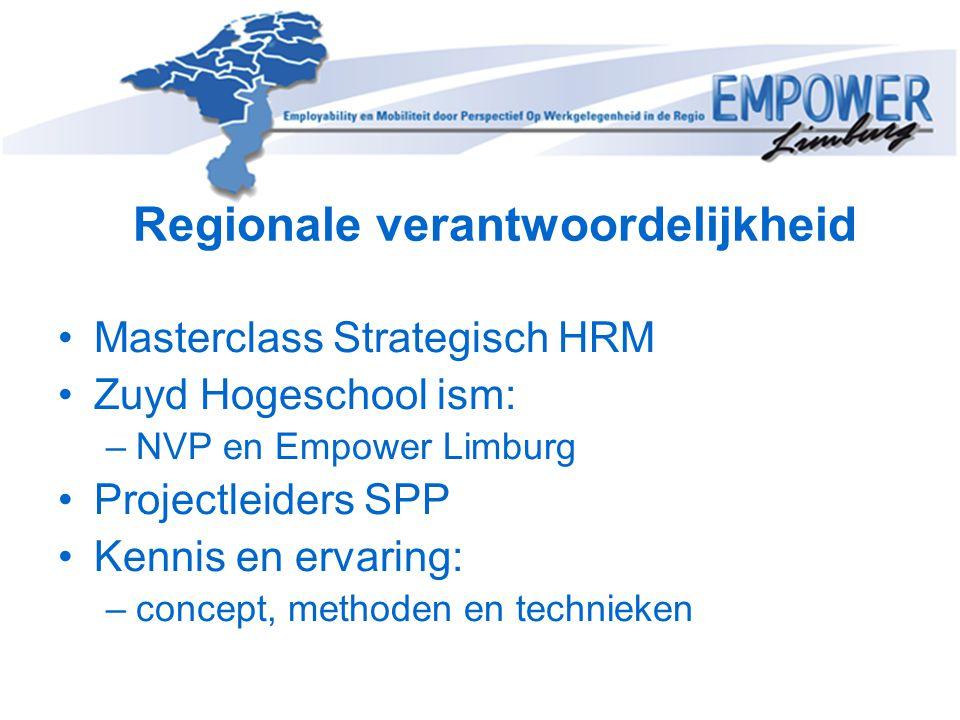 Regionale verantwoordelijkheid Masterclass Strategisch HRM Zuyd Hogeschool ism: –NVP en Empower Limburg Projectleiders SPP Kennis en ervaring: –concep