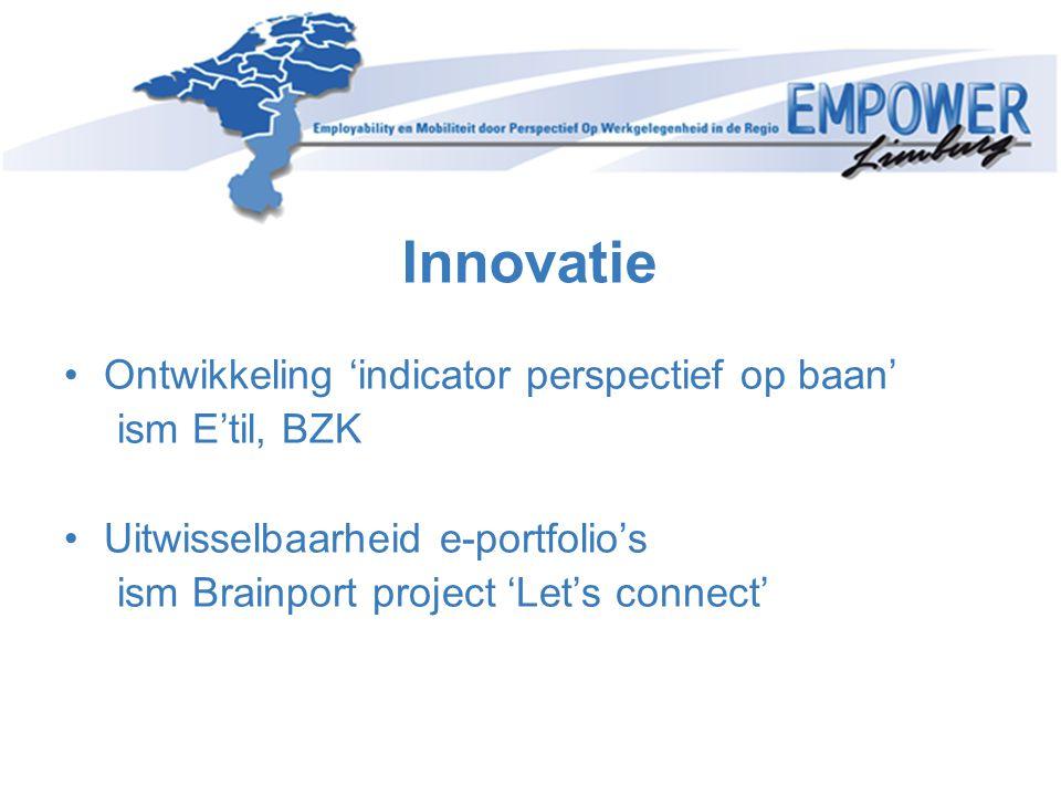 Innovatie Ontwikkeling 'indicator perspectief op baan' ism E'til, BZK Uitwisselbaarheid e-portfolio's ism Brainport project 'Let's connect'