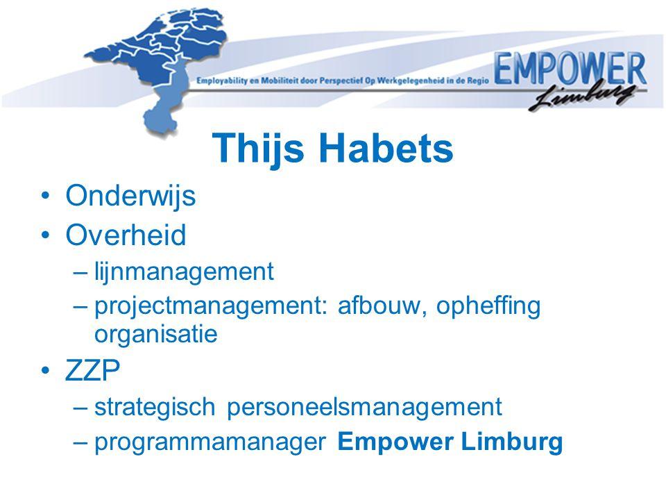 Thijs Habets Onderwijs Overheid –lijnmanagement –projectmanagement: afbouw, opheffing organisatie ZZP –strategisch personeelsmanagement –programmamana