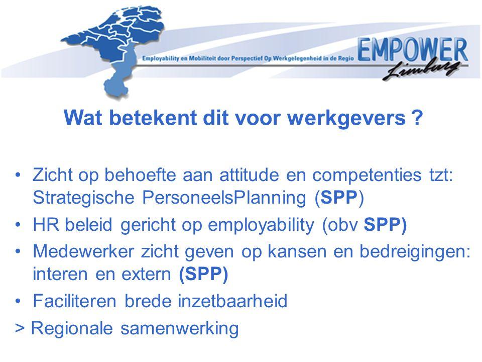 Wat betekent dit voor werkgevers ? Zicht op behoefte aan attitude en competenties tzt: Strategische PersoneelsPlanning (SPP) HR beleid gericht op empl
