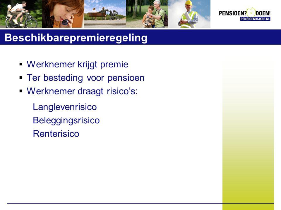 Beschikbarepremieregeling  Werknemer krijgt premie  Ter besteding voor pensioen  Werknemer draagt risico's: Langlevenrisico Beleggingsrisico Renterisico