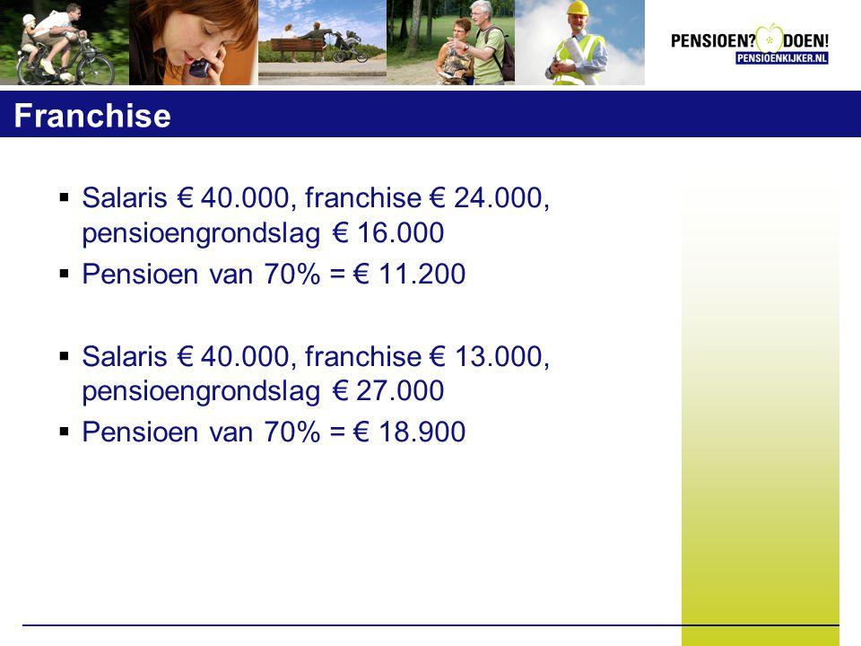 Franchise  Salaris € 40.000, franchise € 24.000, pensioengrondslag € 16.000  Pensioen van 70% = € 11.200  Salaris € 40.000, franchise € 13.000, pensioengrondslag € 27.000  Pensioen van 70% = € 18.900