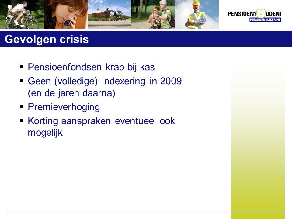 Gevolgen crisis  Pensioenfondsen krap bij kas  Geen (volledige) indexering in 2009 (en de jaren daarna)  Premieverhoging  Korting aanspraken eventueel ook mogelijk