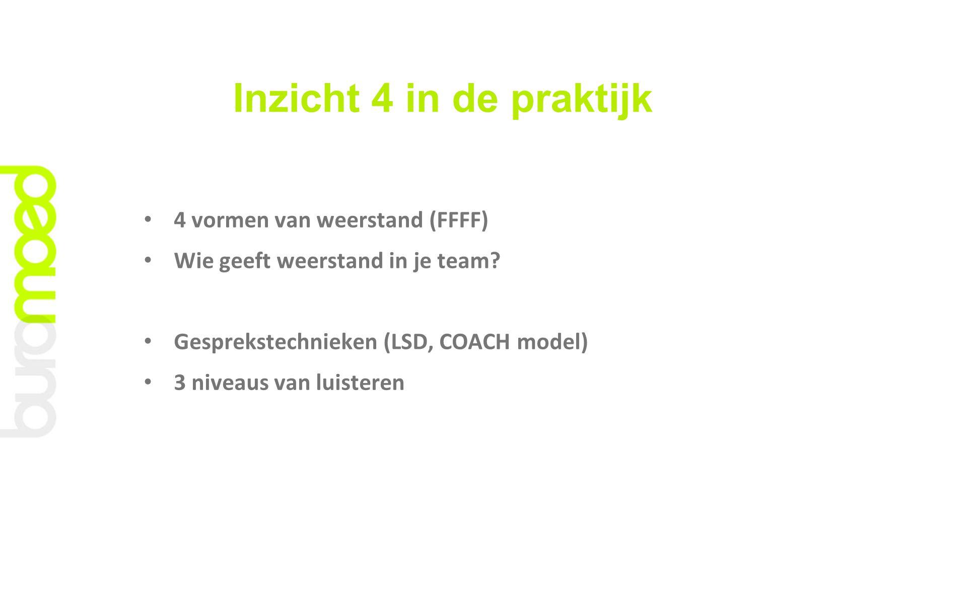 Inzicht 4 in de praktijk 4 vormen van weerstand (FFFF) Wie geeft weerstand in je team? Gesprekstechnieken (LSD, COACH model) 3 niveaus van luisteren