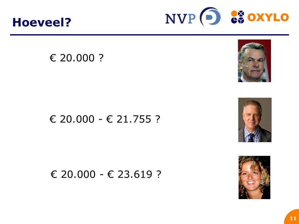 11 Hoeveel? € 20.000 ? € 20.000 - € 21.755 ? € 20.000 - € 23.619 ?