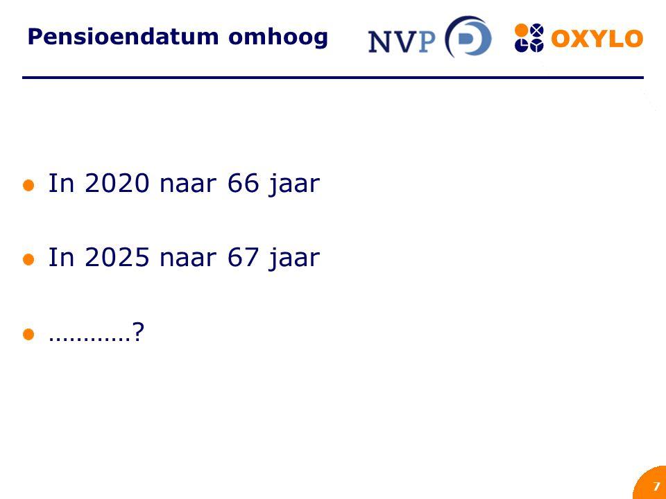 8 Wanneer? Jan 60 Piet 50 Karin 30 2016 65 2026 67 2046 ?