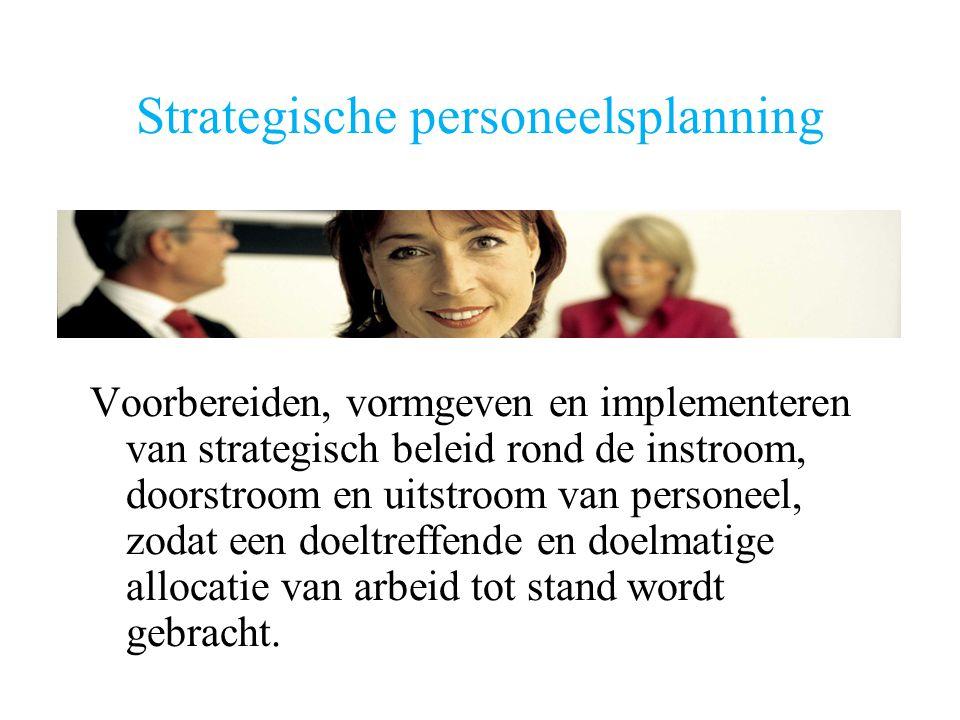 Strategische personeelsplanning Voorbereiden, vormgeven en implementeren van strategisch beleid rond de instroom, doorstroom en uitstroom van personeel, zodat een doeltreffende en doelmatige allocatie van arbeid tot stand wordt gebracht.