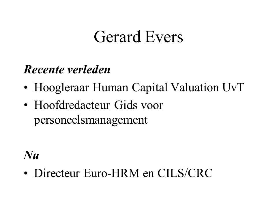 Gerard Evers Recente verleden Hoogleraar Human Capital Valuation UvT Hoofdredacteur Gids voor personeelsmanagement Nu Directeur Euro-HRM en CILS/CRC