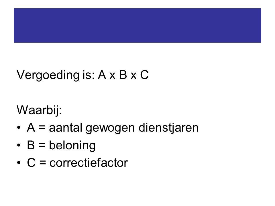 Vergoeding is: A x B x C Waarbij: A = aantal gewogen dienstjaren B = beloning C = correctiefactor
