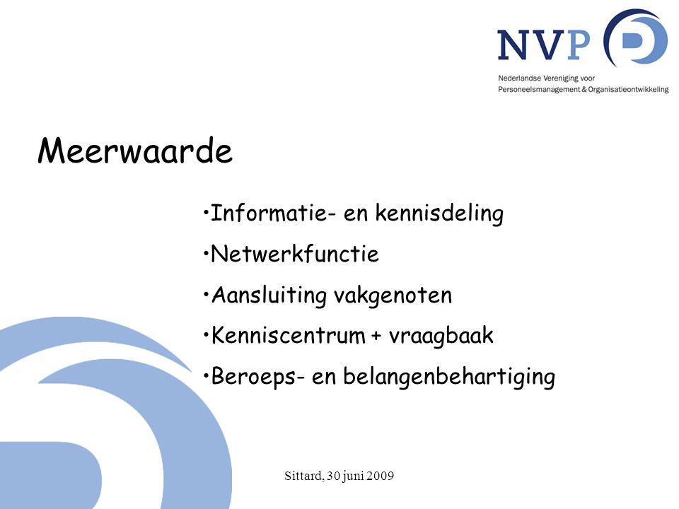 Sittard, 30 juni 2009 Meerwaarde Informatie- en kennisdeling Netwerkfunctie Aansluiting vakgenoten Kenniscentrum + vraagbaak Beroeps- en belangenbehartiging