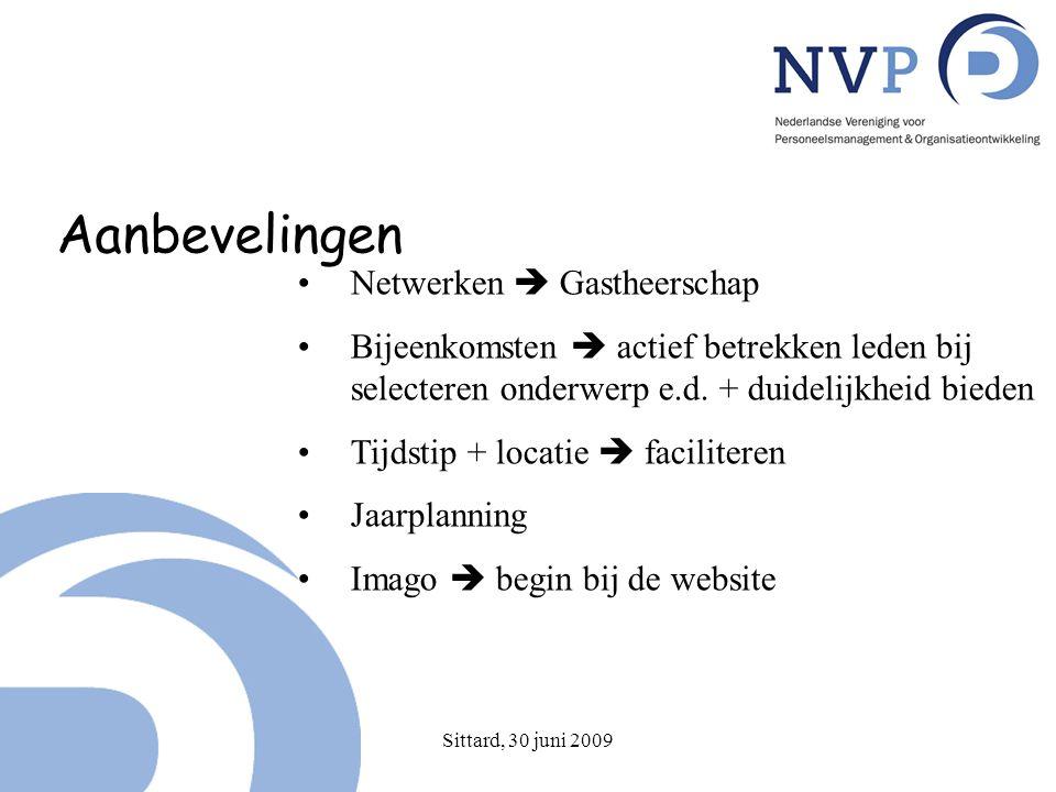 Sittard, 30 juni 2009 Aanbevelingen Netwerken  Gastheerschap Bijeenkomsten  actief betrekken leden bij selecteren onderwerp e.d.