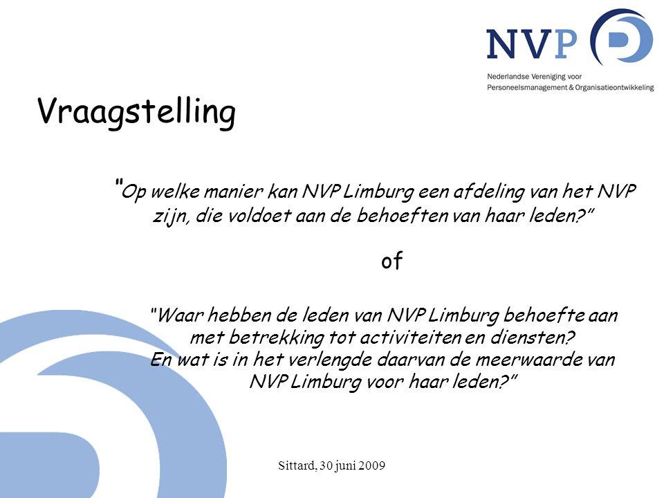 Sittard, 30 juni 2009 Vraagstelling Op welke manier kan NVP Limburg een afdeling van het NVP zijn, die voldoet aan de behoeften van haar leden? of Waar hebben de leden van NVP Limburg behoefte aan met betrekking tot activiteiten en diensten.
