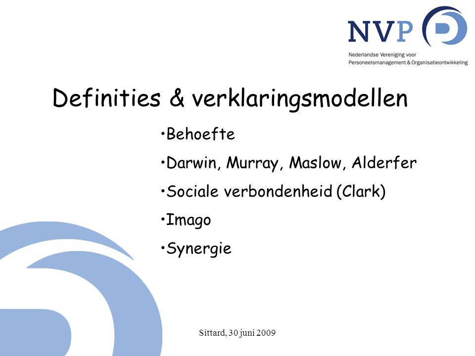 Sittard, 30 juni 2009 Definities & verklaringsmodellen Behoefte Darwin, Murray, Maslow, Alderfer Sociale verbondenheid (Clark) Imago Synergie