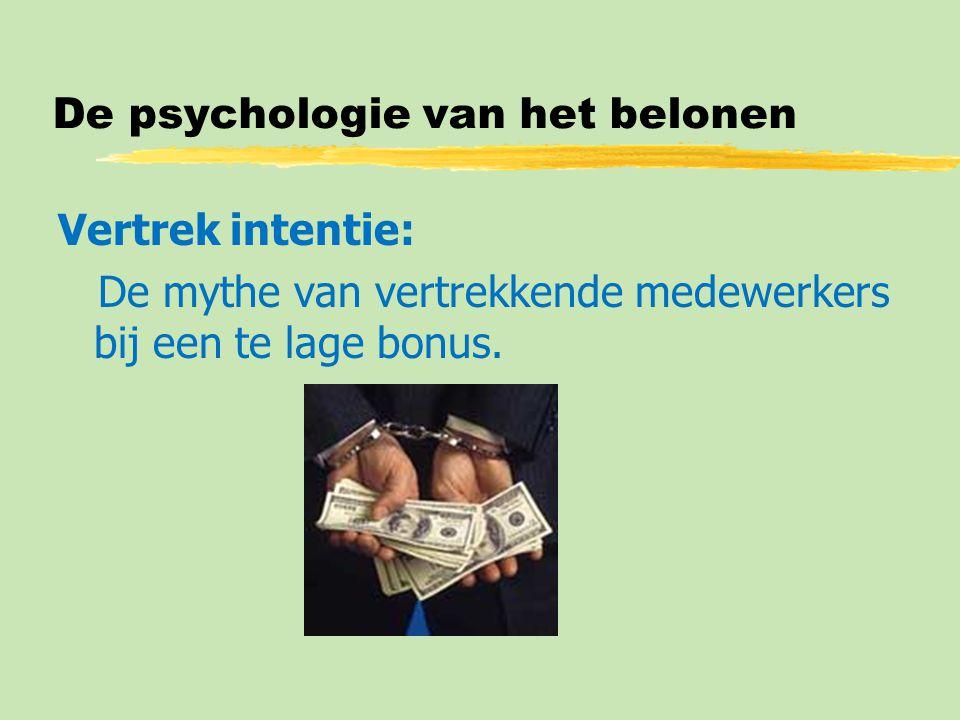 De psychologie van het belonen Vertrek intentie: De mythe van vertrekkende medewerkers bij een te lage bonus.
