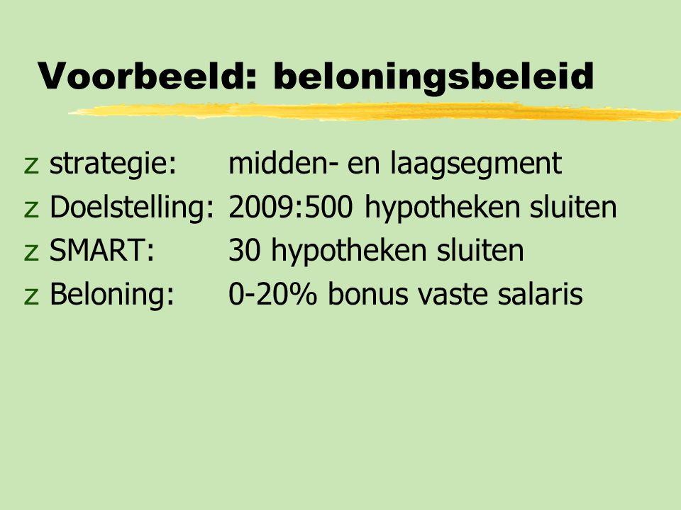 Voorbeeld: beloningsbeleid zstrategie: midden- en laagsegment zDoelstelling:2009:500 hypotheken sluiten zSMART:30 hypotheken sluiten zBeloning:0-20% b