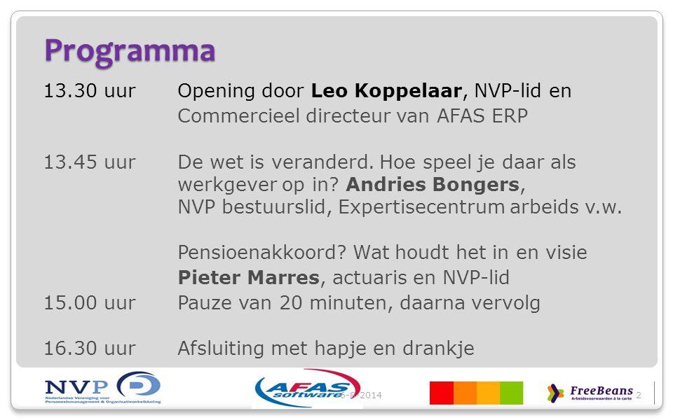 Programma 13.30 uurOpening door Leo Koppelaar, NVP-lid en Commercieel directeur van AFAS ERP 13.45 uurDe wet is veranderd. Hoe speel je daar als werkg