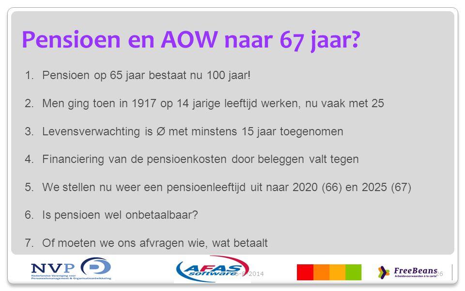 6-8-201426 Pensioen en AOW naar 67 jaar? 1.Pensioen op 65 jaar bestaat nu 100 jaar! 2.Men ging toen in 1917 op 14 jarige leeftijd werken, nu vaak met