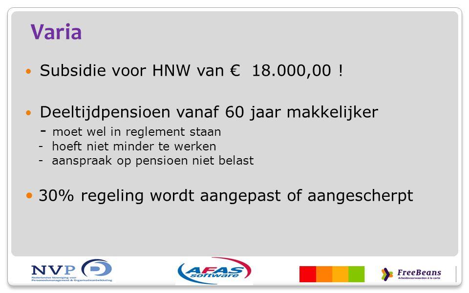 Varia Subsidie voor HNW van € 18.000,00 ! Deeltijdpensioen vanaf 60 jaar makkelijker - moet wel in reglement staan - hoeft niet minder te werken - aan
