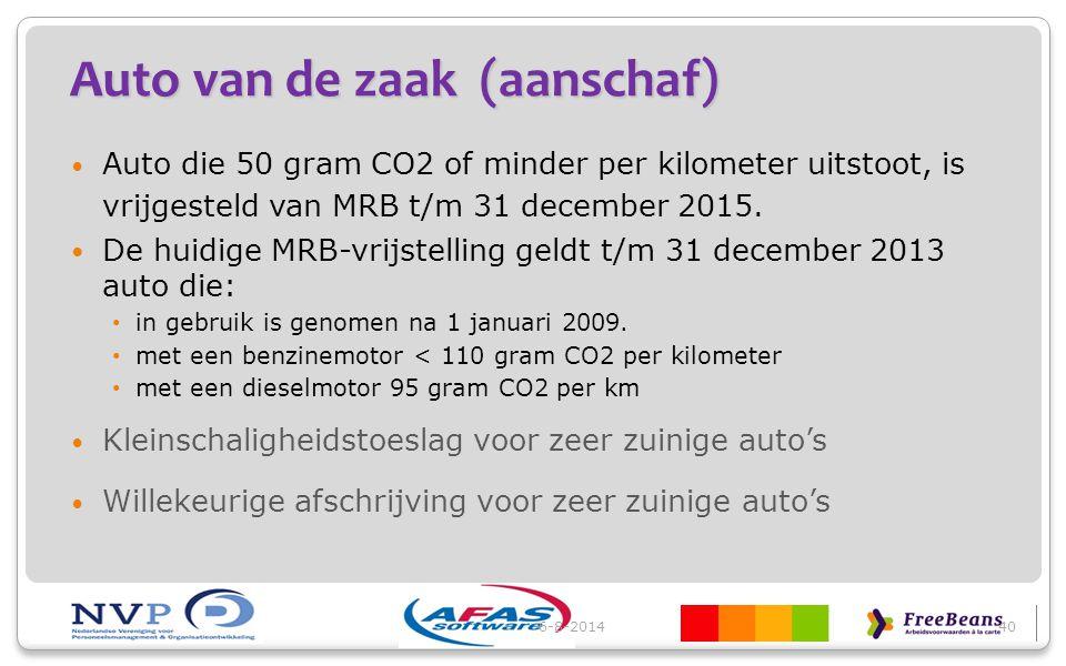 Auto van de zaak (aanschaf) Auto die 50 gram CO2 of minder per kilometer uitstoot, is vrijgesteld van MRB t/m 31 december 2015. De huidige MRB-vrijste