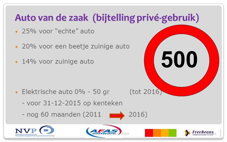 """Auto van de zaak (bijtelling privé-gebruik) 25% voor """"echte"""" auto 20% voor een beetje zuinige auto 14% voor zuinige auto Elektrische auto 0% - 50 gr ("""