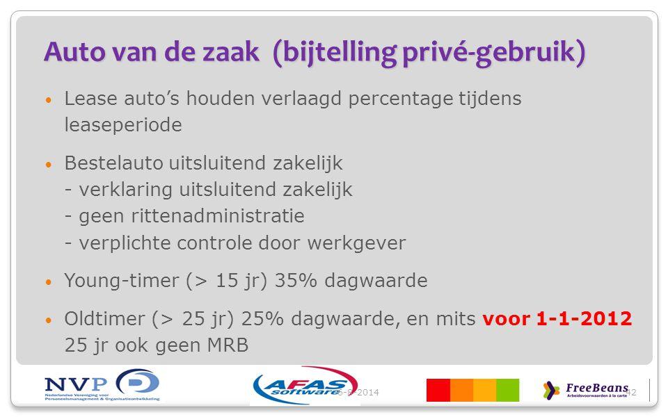 Auto van de zaak (bijtelling privé-gebruik) Lease auto's houden verlaagd percentage tijdens leaseperiode Bestelauto uitsluitend zakelijk - verklaring