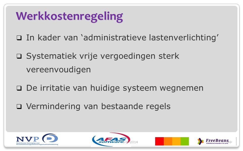 Werkkostenregeling  In kader van 'administratieve lastenverlichting'  Systematiek vrije vergoedingen sterk vereenvoudigen  De irritatie van huidige