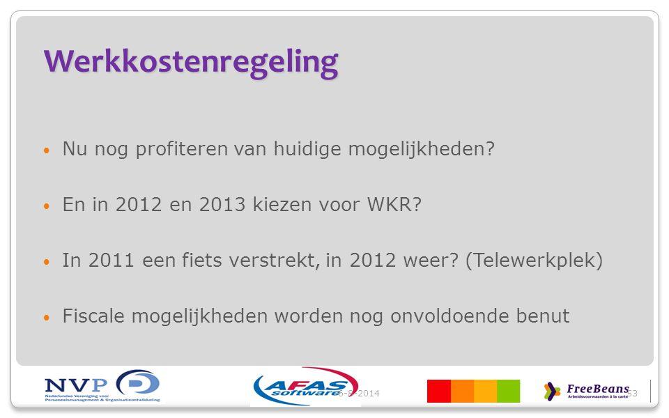 Werkkostenregeling Nu nog profiteren van huidige mogelijkheden? En in 2012 en 2013 kiezen voor WKR? In 2011 een fiets verstrekt, in 2012 weer? (Telewe