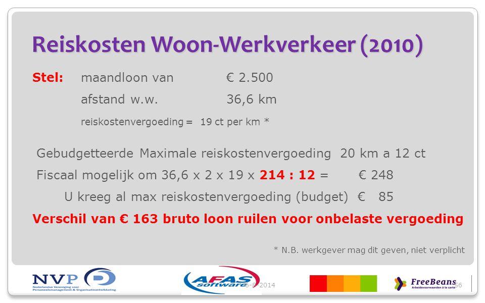 Reiskosten Woon-Werkverkeer (2010) Stel:maandloon van€ 2.500 afstand w.w.36,6 km reiskostenvergoeding = 19 ct per km * Gebudgetteerde Maximale reiskos