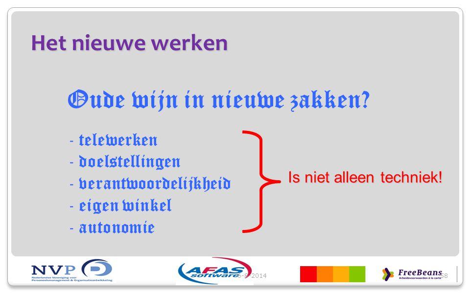 Het nieuwe werken 6-8-201458 Oude wijn in nieuwe zakken? - telewerken - doelstellingen - verantwoordelijkheid - eigen winkel - autonomie Is niet allee