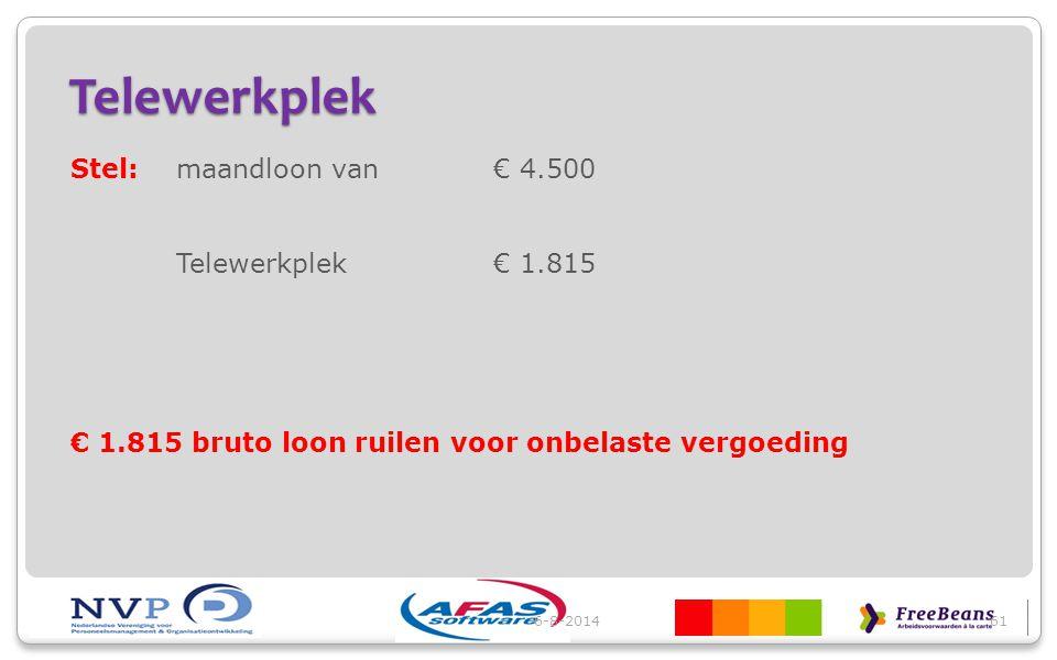 Telewerkplek Stel:maandloon van€ 4.500 Telewerkplek€ 1.815 € 1.815 bruto loon ruilen voor onbelaste vergoeding 6-8-201461