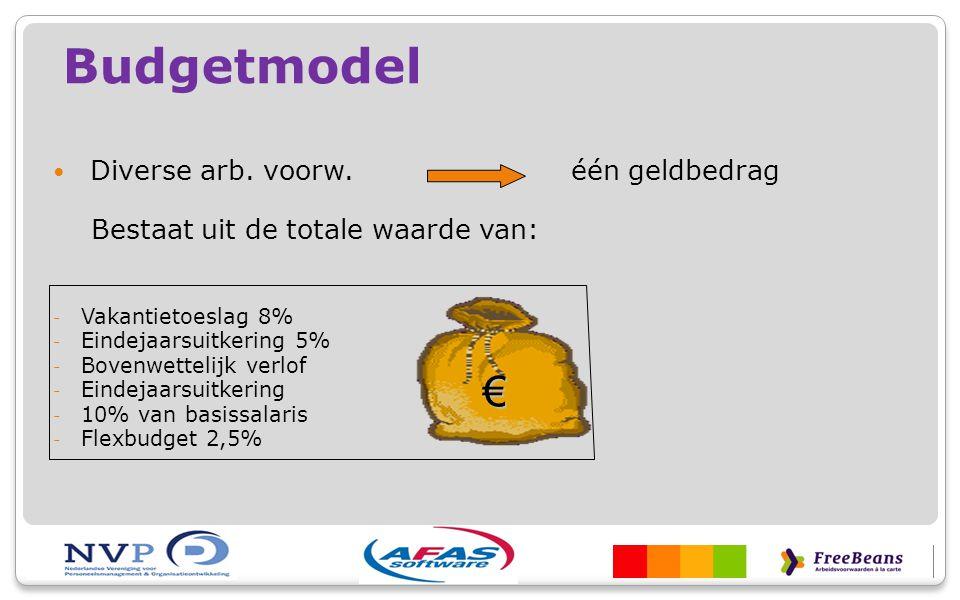Budgetmodel Diverse arb. voorw. één geldbedrag Bestaat uit de totale waarde van: - Vakantietoeslag 8% - Eindejaarsuitkering 5% - Bovenwettelijk verlof