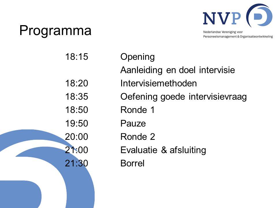 Programma 18:15Opening Aanleiding en doel intervisie 18:20Intervisiemethoden 18:35 Oefening goede intervisievraag 18:50Ronde 1 19:50Pauze 20:00 Ronde