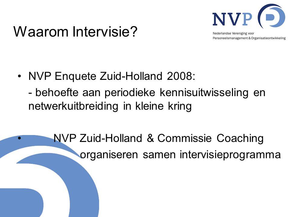 Waarom Intervisie? NVP Enquete Zuid-Holland 2008: - behoefte aan periodieke kennisuitwisseling en netwerkuitbreiding in kleine kring NVP Zuid-Holland