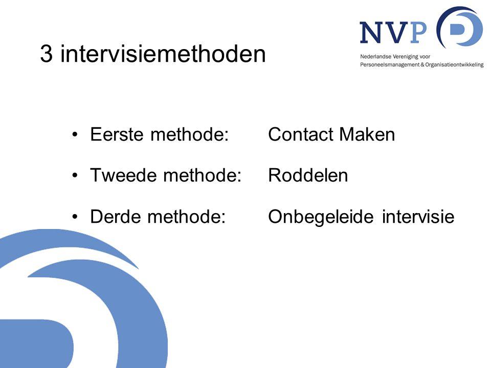 3 intervisiemethoden Eerste methode: Contact Maken Tweede methode: Roddelen Derde methode: Onbegeleide intervisie