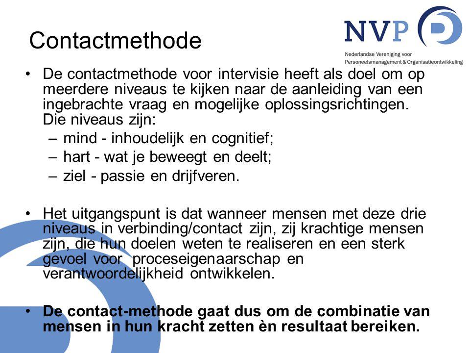 Contactmethode De contactmethode voor intervisie heeft als doel om op meerdere niveaus te kijken naar de aanleiding van een ingebrachte vraag en mogel