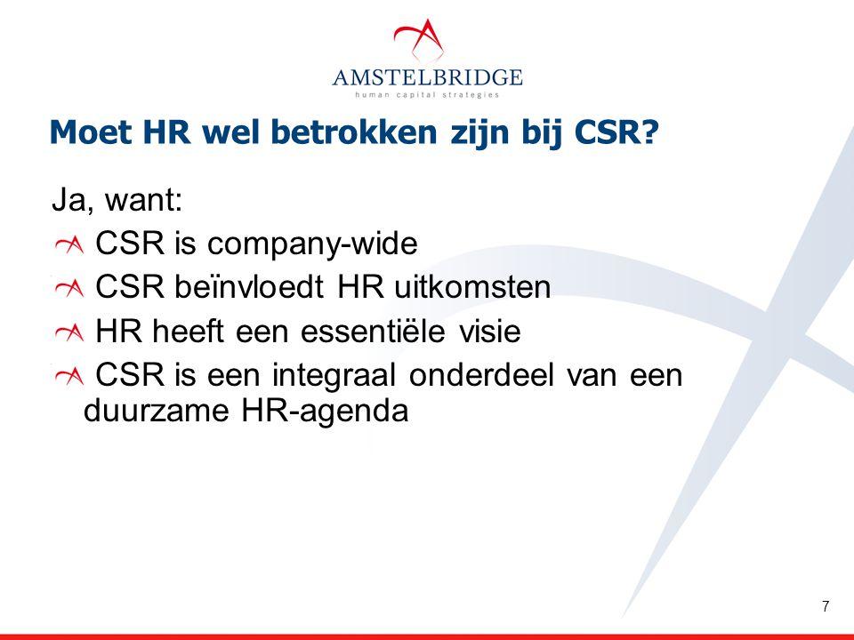 Moet HR wel betrokken zijn bij CSR.