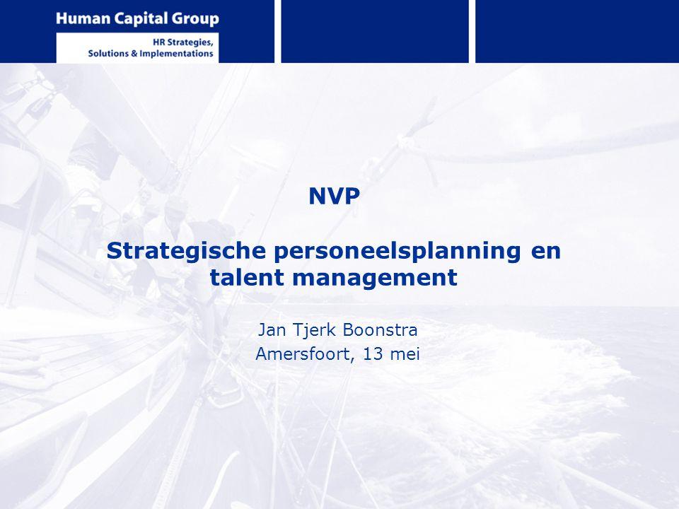 NVP Strategische personeelsplanning en talent management Jan Tjerk Boonstra Amersfoort, 13 mei