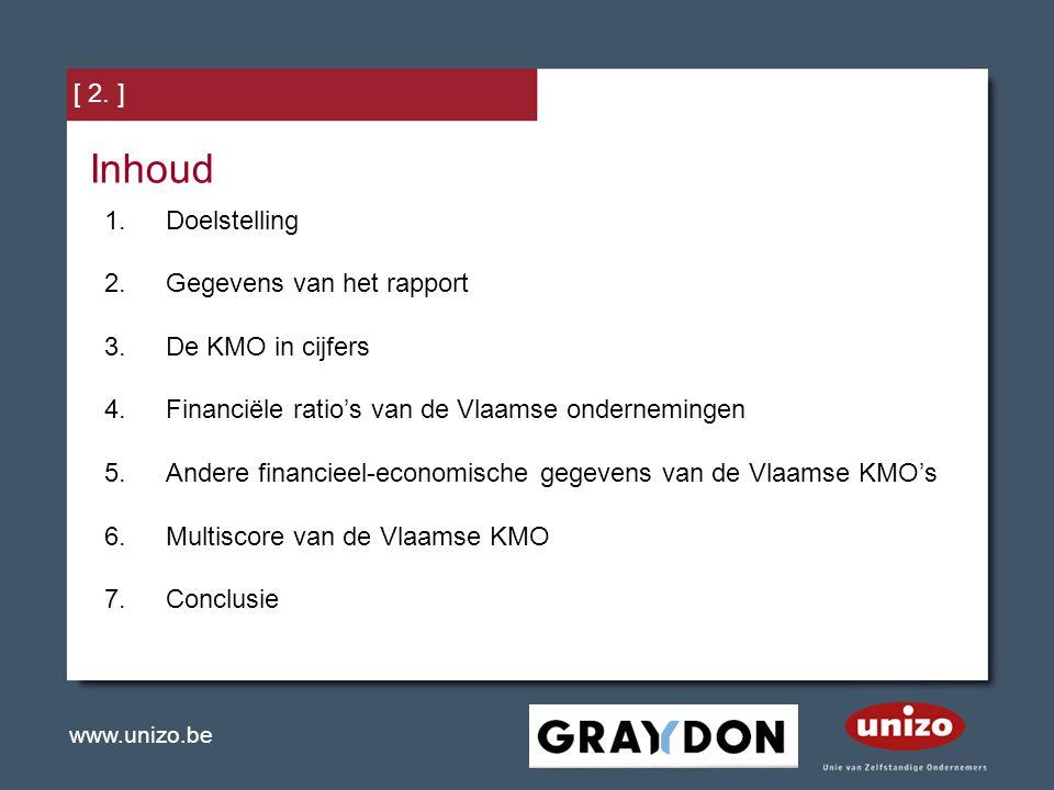 www.unizo.be [ 2. ] Inhoud 1.Doelstelling 2.Gegevens van het rapport 3.De KMO in cijfers 4.Financiële ratio's van de Vlaamse ondernemingen 5.Andere fi