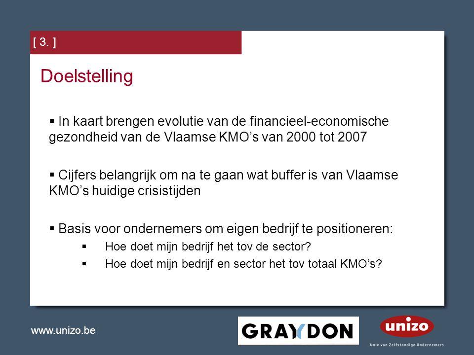 www.unizo.be [ 3. ] Doelstelling  In kaart brengen evolutie van de financieel-economische gezondheid van de Vlaamse KMO's van 2000 tot 2007  Cijfers